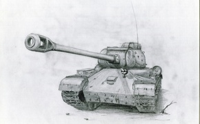Wallpaper gun, pencil drawing, Soviet tank, The is-2