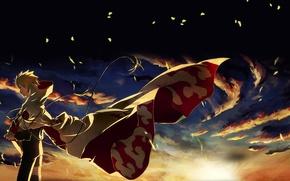 Wallpaper leaves, sunset, clouds, the wind, naruto, ninja, Naruto, Hokage, hokage