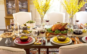 Picture flowers, table, holiday, wine, food, serving