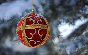 Wallpaper macro, snow, toy, tree, ball, New Year, Christmas, decoration