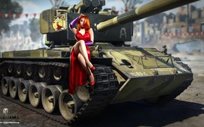 Picture Nikita Bolyakov, holiday, red, art, average, the city, World of Tanks, figure, girl, tank, in ...