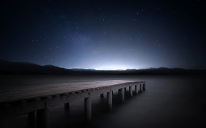 Picture stars, mountains, night, lake, pierce