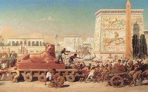 Picture picture, painting, painting, Edward Poynter, 1867, Israel in Egypt