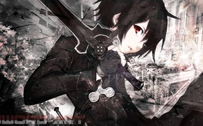 Wallpaper look, sword, black hair, Sword Art Online, Kirito, black cloak