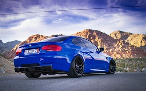 Picture road, the sky, clouds, mountains, blue, bmw, BMW, blue, back, e92