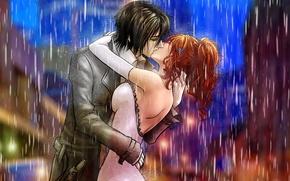 Wallpaper ulquiorra ships, inoue orihime, billiefeng, art, guy, bleach, rain, pair, girl, kiss