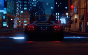 Picture night, lights, building, Lamborghini, back, night, The Crew