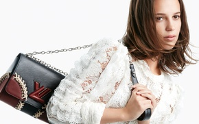 Wallpaper advertising, brand, Alicia Vikander, Alicia Vikander, actress, brown hair, Louis Vuitton, white background, photographer, handbag, ...