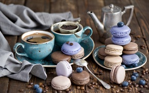 Picture sweets, set, dessert, cookies, strainer, coffee, glaze, blueberries, berries, macaron, still life, macaron, Anna Verdina, ...