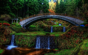Picture trees, flowers, bridge, Park, waterfall, the evening, cascade