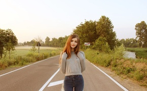 Picture road, greens, look, girl, trees, nature, smile, sweetheart, track, jeans, signs, brown hair, beautiful, cute, …
