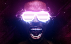 Picture Neon, Glasses, Face, Teeth, Man, Neon, Current