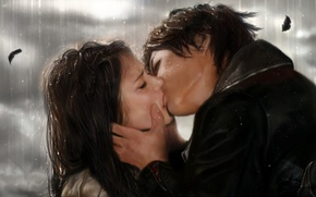 Picture love, rain, kiss, the series, The Vampire Diaries, Elena, Damon