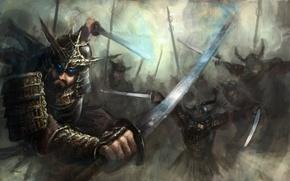 Picture weapons, fiction, armor, art, battle, Samurai, Samurai