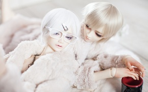 Picture doll, glasses, Cup, guys, white hair, barrette, doll, BJD