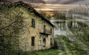 Picture trees, river, abandoned house
