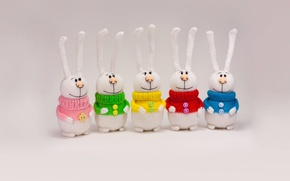 Picture toy, rabbits, colorful, knitted