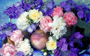 Picture flowers, wall, bouquet, vase, lilac, peonies, hydrangea