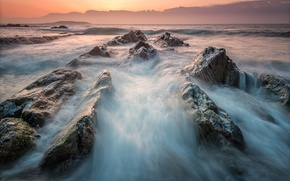 Picture sea, wave, beach, water, nature, stones, the ocean, rocks, morning, excerpt, threads