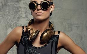 Wallpaper glasses, girl, hairstyle, Mike, headphones, blonde, in black, pose, portrait