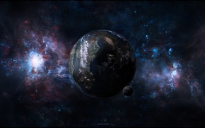 Picture Galaxy, mountain, snow, planet, Sci Fi