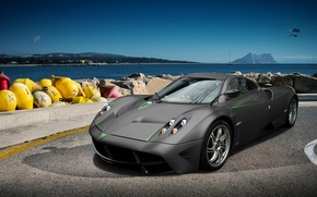 Picture sea, the sky, stones, the wind, supercar, Pagani, car, promenade, aircraft, sports, Huayr To Pagani, …