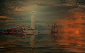 Wallpaper sea, ship, reflection, lighthouse, the sky, clouds