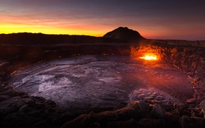 Picture mountains, the volcano, Dawn, lava, Africa, Ethiopia