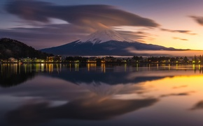 Picture reflection, the city, lights, mountain, the evening, Japan, Fuji, stratovolcano, Mount Fuji, the island of …