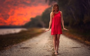Picture Balance Of Red, legs, in red, girl