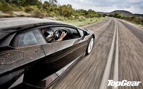 Picture road, speed, Lamborghini Aventador, Top-Gear