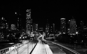 Picture road, lights, Black and white