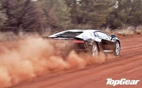 Picture road, trees, black, dust, Lamborghini, supercar, rear view, top gear, LP700-4, Aventador, Lamborghini, top gear, …