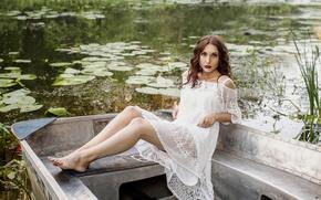 Picture girl, pose, boat, Valerie