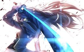 Picture weapons, heart, art, anime, girl, katana, tian ling qian ye, bai yemeng, pixiv fantasia