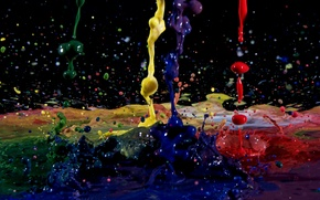 Picture drops, macro, squirt, paint