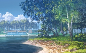 Picture forest, clouds, trees, lake, house, art, arsenixc, painted landscape