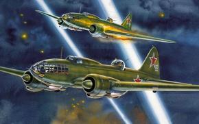 Picture war, art, airplane, painting, aviation, ww2, Ilyushin Il-4