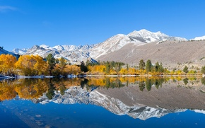 Picture autumn, the sky, trees, mountains, lake, reflection