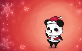 Picture snow, snowflakes, style, figure, art, Panda, New year, Santa Claus, New Year, merry christmas, 2015