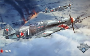 Picture clouds, the plane, fire, aviation, air, MMO, Wargaming.net, World of Warplanes, WoWp, BigWorld, arcade, arcade …