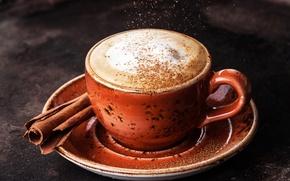 Wallpaper Coffee, coffee, Cinnamon, cinnamon, Cup, Drinks, foam