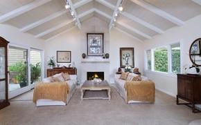 Picture sofa, interior, fireplace, mansion, Design, living room, Interior, Living