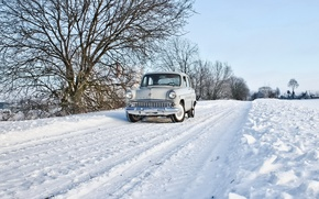 Picture winter, road, machine, Moskvich 407