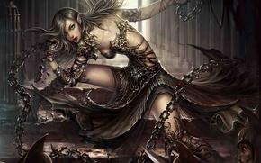Picture girl, weapons, art, corridor, elf, chain