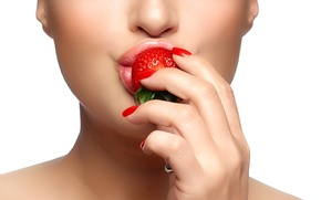 Wallpaper girl, lips, background, hand, face, strawberry