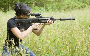 Wallpaper grass, girl, sniper, rifle