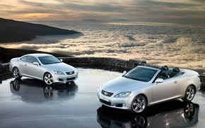 Picture clouds, mountains, machine, cars, Lexus, 1920x1200, cars with cars, clouds, lexus is250c widescreen walls