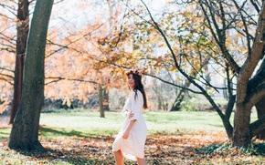 Picture trees, Park, dress, brunette, wreath