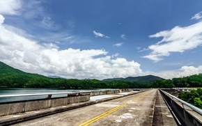 Picture road, forest, the sky, lake, tree, cloud, dam, USA, USA, forest, road, sky, cloud, mountain, ...